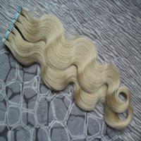 ingrosso estensioni del nastro biondo-nastro dell'onda del corpo in estensioni dei capelli umani 40 pc capelli vergini dell'onda brasiliana PU nastro di trama della pelle su / in estensioni dei capelli remy # 60 Biondo platino
