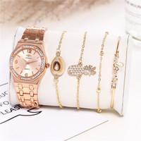 ingrosso orologi di qualità per le donne-Gli orologi da donna casuali dell'oro dell'oro delle signore di alta qualità 5pcs guarda gli orologi da polso casuali dell'oro dell'oro delle signore di alta moda che spediscono liberamente