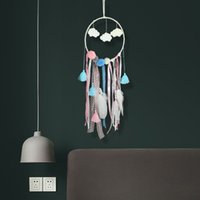Wholesale hang beds online - Flaky Clouds Dreamcatcher Feather Teenage Girl Catcher Network LED Dream Catcher Bed Room Hanging Ornament Souvenirs CCA11744
