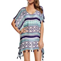 полуотдельное платье оптовых-Women Summer Chiffon Semi-Sheer Bikini Cover Up Boho Stripes Printing Loose Dress Side Split Tassels Trim Top