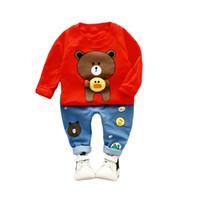 bebek ayı kıyafetleri toptan satış-BibiCola Bebek Erkek Giyim Setleri Bahar Çocuk Erkek Giysileri Setleri Çocuklar 2 adet Spor Takım Elbise Karikatür Ayı Baskı Çoc ...