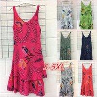 neue stilvolle damen kleider großhandel-Sexy Frauen Sommerkleid 2019 New Stylish Sleeveless Print Blumenkleid plus Größe 5xl Strandkleider Damenmode lässigen Stil