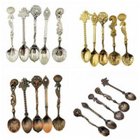 Wholesale bronze setting for sale - Group buy 5pcs set Retro Soup Spoon European Style Engraving Pattern Bronze Gold Silver Spoon Luxury Cutlery Set Stainless steel spoon WWA111