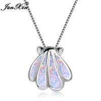 Wholesale opals necklaces resale online - Cute Female Sea Conch Animal Pendants Necklaces Sterling Silver Filled White Blue Fire Opal Stone Necklaces For Women