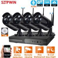 dôme de kit de vidéosurveillance achat en gros de-4CH Audio Système CCTV sans fil 1080P NVR Recorder1.0MP IR extérieur P2P Wifi IP 720p Audio Système de caméra de sécurité CCTV Kit de surveillance