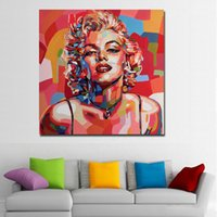sexy gerahmte leinwand großhandel-1 Stücke Sexy Red Marilyn Monroe Leinwand Kunstdruck und Poster Porträt Ölgemälde Moderne Leinwand Malerei Gedruckt Wand-dekor Kein Rahmen