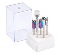 akrilik çivi matkap toptan satış-Tırnak Matkap Uçları Seti 7 Adet Mavi Renk Tungsten Karbür Akrilik Tırnak Dosya Matkap Ucu Manikür Pedikür