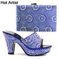 ingrosso artisti blu-Designer Hot Artist italiano strass blu scarpe con borse di corrispondenza Set pompe donne africane Scarpe e borsa Set per il partito Yk-098