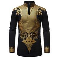 traditionelle lange tops großhandel-EU-Größe African Dashiki Print Baumwolle T-Shirt für Männer Traditionelle Tops Bluse mit langen Ärmeln Hoher Kragen Metallic Plus Size