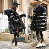 ingrosso giacca a pelo con cappuccio in pelliccia-Grande collo di pelliccia di procione reale con cappuccio 90% piumino d'anatra bianco piumino donna cappotto caldo lungo invernale spesso donna piumino femminile SH190913