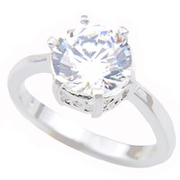 Wholesale 925 sterling silver white topaz ring resale online - Luckyshine Superb Round White Shaped Cubic Zirconia Gems Sterling Silver Rings Wedding Family Friend Holiday Gift Rings For