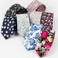 krawatten schlank 6cm großhandel-RBOCOTT Herren Baumwolle Krawatten Floral Krawatte 6 cm Dünne Krawatte Bedruckte Dünne Krawatte Rosa Weiß Hals Für Herren Accessoires Hochzeit