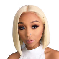 Wholesale 12 inches blonde lace wig for sale - Group buy 613 Short Bob Full Lace Wig inch Brazilian Remy Straight x6 Blonde Lace Front Human Hair Wig for Black Women