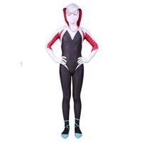 ingrosso costumi da supereroe del capretto di zentai-New 3D bambini ragazze Gwen Stacy Spider-man Costume Cosplay Spiderman Zentai Supereroe Tuta Tuta Tute