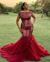 Wholesale purple red evening dress for sale - Group buy Plus Size African Black Girls Mermaid Prom Dresses Sparkle Sequined Top Scoop Neckline Ruffles Train Hand Made Flowers Long Evening Gowns