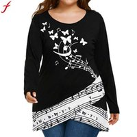Wholesale musical butterfly resale online - Plus Size XL Butterfly Musical Note Blouse Shirt Women Long Sleeve shirt Tops Blouse Round Neck Tunic Tops Loose Blusas
