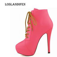 ботинки офисной обуви оптовых-Loslandifen Women Fashion Round Toe Lace Up Candy Color Office High Heel Boots Shoes Plus Size 35-42 Ladies  Boots