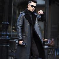 erkek shearling toptan satış-Gerçek Yün Kürk Kış Ceket Erkekler Koyun Shearlıng Kürk Uzun Palto Adam Deri Ceketler Artı Boyutu Manteau Homme Hiver MY1823