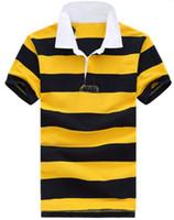 comprar camisa polo amarela venda por atacado-Comprar moda americana homens listrados polo camisa pequena pônei bordado de algodão de alta qualidade verão masculino clássico polos esporte t shirt tops amarelo