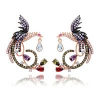 pendientes de circón al por mayor-Cuelga los pendientes de diseño de lujo circón Pendientes de boda chino Phoenix joyería fina para la Mujer Gril regalo