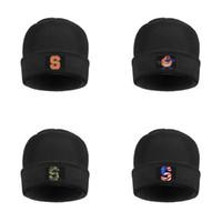 ingrosso cappelli di cranio arancioni-Womens elastico Lana Syracuse Orange uomo logo Cap Quotidiano Knitting Beanie Cappelli Basket USA flag Logo Nero Camouflage Bianco