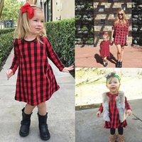 vestidos de inverno preto vermelho para meninas venda por atacado-Crianças Infantil Do Bebê Meninas Vermelho Preto Xadrez Vestido de Manga Longa Outono Inverno Festa de Natal Princesa Vestidos Casuais