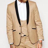 c43497e6de400 Yeni Özel Erkekler Düğün Smokin Slim Fit Siyah Şal Yaka Erkekler Için Iki  Düğme Resmi Iş Damat Takım Elbise Ceket + Pantolon + Yelek 561