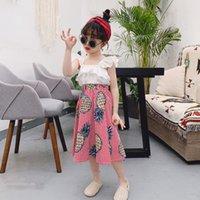 3t vestidos de férias venda por atacado-Meninas do verão Roupa 2019 de Moda de Nova 2pcs Roupa das Crianças Vest Sólidos Vest abacaxi vestido Crianças férias ternos para a menina
