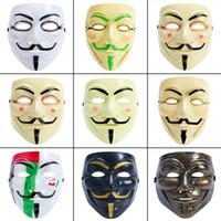 máscaras del partido de halloween vendetta al por mayor-Máscara de Halloween V Vendetta Máscaras de película de cara completa Decoración de disfraces Accesorios Fiesta Hombre Mujer Niños Máscara de Halloween HHA735