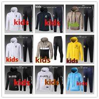 Wholesale children hooded tracksuits online - 18 PSG AJ Kids Hooded tracksuit Maillot de Survêtement Paris Marseille Real Madrid RONALDO kids child Hooded sweater jacket set