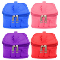 Wholesale velvet cosmetic bags resale online - 16 Grids Cosmetic Bags Essential Oil Bottle Holder Handbag Women Velvet Carrying Case ML Essential Oil Bag Makeup Storage Organizer