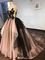 vestido negro de tul asimetrico al por mayor-Vestidos de noche árabes de múltiples colores Blush Pink Tulle negro Apliques de encaje Cuello en V Sin mangas Espalda abierta con cordones Vestidos de baile asimétricos