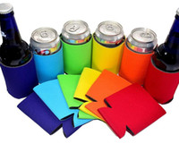 Wholesale baby food tools resale online - Solid Color Neoprene Foldable Stubby Holders Beer Cooler Bags For Wine Food Cans Cover Baby Feeding Tools Colors