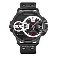 Wholesale weide quartz brands watch for sale - Group buy WEIDE UV1702 brand personality double time zone calendar waterproof black and white steel belt men s sports quartz watch