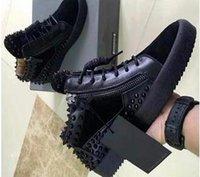 italyan deri spor ayakkabıları erkekler toptan satış-2019 Yeni İtalyan marka tasarımcısı üst erkekler kadınlar Zapatillas guiseppes gerçek deri perçin eğlence Rahat ayakkabı arena sneakers