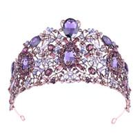 cabeça do coração do rosa de plástico venda por atacado-2019 Luxo Barroco Noiva Big Crown Hoop Roxo Cristal Rhinestone Casamento Coroas Tiara Do Vintage de Noiva Acessórios Para o Cabelo Hairband