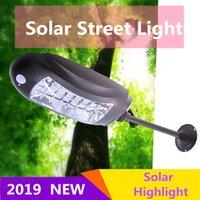luz led seguridad vial al por mayor-32LED luces de calle solares luces de la lámpara + sensores de movimiento luz de inundación impermeable al aire libre pared del jardín solar de la emergencia de seguridad de la lámpara del camino