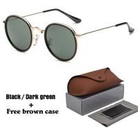 paquetes masculinos al por mayor-Gafas de sol redondas de alta calidad mujeres hombres marcos de metal espejo UV400 lentes mujer gafas de sol retro masculino gafas de sol con paquete al por menor