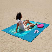 grand tapis de plage extérieur achat en gros de-Tapis de plage portable tapis de sable magiques tapis polyester antidérapant camping en plein air pour le soutien de la plage grande taille auto-conduite Tour Y19062803