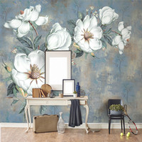 Wholesale mural painting wallpaper oil for sale - Group buy Custom Wallpaper Murals European Style Retro Art Abstract Oil Painting Flowers Wall Mural Painting Living Room Bedroom Wallpaper