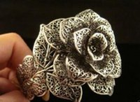 linda pulseira de pérola negra venda por atacado-Jóias pulseira de pérolas quente! ! Jóias Bonito Tibet Prata Preto Rosa Flor Cuff Bracelet Frete Grátis