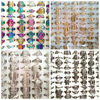 Wholesale gold silver mix design ring for sale - Group buy Bulk Multi design Mix Laser Cut Ring Women s SILVER GOLD BLACK RAINBOW stainless Steel Party Ring Trendy Jewelry