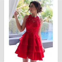 mini red organza dress 도매-2018 섹시 레드 Organza 홈 커밍 드레스 미니 짧은 프릴 레이스 칵테일 가운 사용자 정의 보석 홈 커밍 드레스