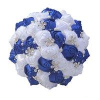 suni çiçekler ipek mor toptan satış-En Gelin Gelin Buketi 2020 Yüksek Kaliteli Mor Krem Düğün Dekorasyon Yapay Gelinlik Çiçek Kristal İnci İpek Gül