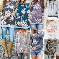 sonbahar kış kadınları hoodies toptan satış-Kadınlar Çiçek cep Hoodies Uzun Kollu İpli Kapşonlu Kazak Kazak Tops dış giyim coat Sonbahar Kış hoodie LJJA3043