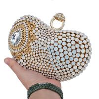 rote ringkupplung großhandel-milchig weißen Ring Clutch Frauen Party Geldbörse Kette Umhängetaschen Rot Silber Abend Luxus Boutique Hochzeit A24