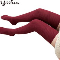 medias de algodón vintage al por mayor-Mujer Primavera Japonés Medias de torsión larga Algodón de mujer Medias de estudiante vintage Medias femeninas de aguja gruesa Medias de rodilla