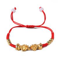 Wholesale braided red string bracelet online - Double Golden Pi Xiu Charm Kabbalah Red String Handmade Braided Bracelets Unisex