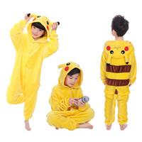 çocuklar kigurumi toptan satış-Çocuk Pikachu Pijama Erkek Kız Karikatür Hayvan Cosplay Pijama Onesie 4 6 8 10 12 Yıl Çocuklar Polar Kigurumi Pijama Hoodie J190520