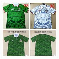 ulusal nakış toptan satış-1994 1998 MEKSIKA Milli Takımı RETRO VINTAGE BLANCO Klasik Futbol Formaları 98 94 Meksika Campos Hernandez Futbol Gömlek Nakış Logosu